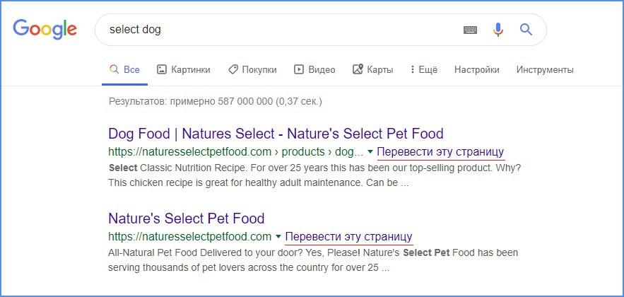 Функция перевода страниц в поисковике Google